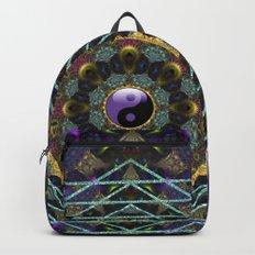 Purple Yin Yang Sacred Geometry Fractals Backpacks