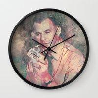 frank sinatra Wall Clocks featuring Frank Sinatra by Nechifor Ionut