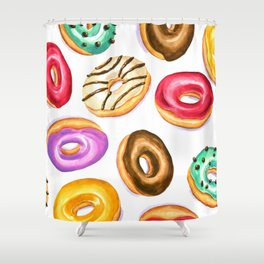Colorful donut party pattern in watercolor Shower Curtain