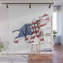 Vote Republican Elephant Distressed USA Flag Design Wall Mural