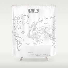 World Map minimal sketchy black and white Shower Curtain