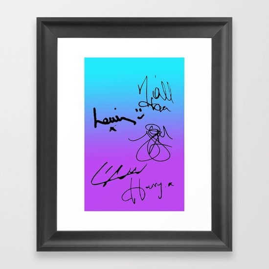 One Direction Signatures Framed Art Print