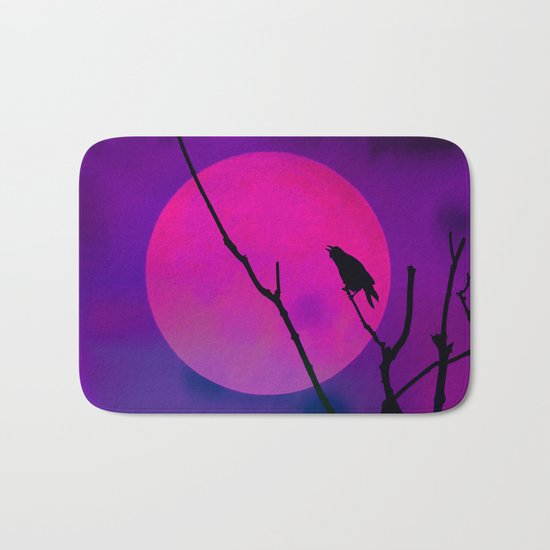 The Crow And The Pink Moon Bath Mat