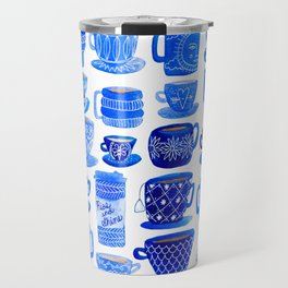 Coffee Mugs and Tea Cups - A study in blues Travel Mug