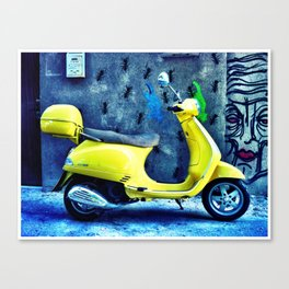 A Yellow Scooter Canvas Print