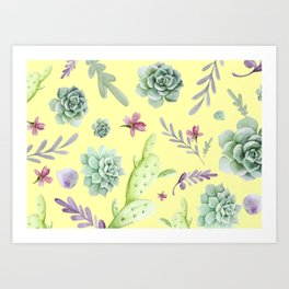 Cactus Watercolor Pattern 15 Art Print