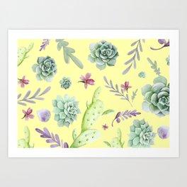 Cactus Watercolor Pattern 15 Art Print
