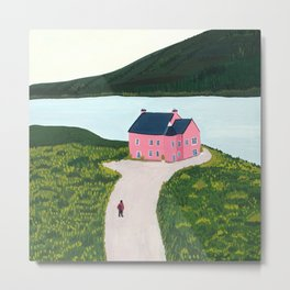 Pink House by the Lake Landscape Metal Print