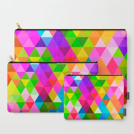 Bright Colorful Diamond Triangles Mosaic Pattern Carry-All Pouch