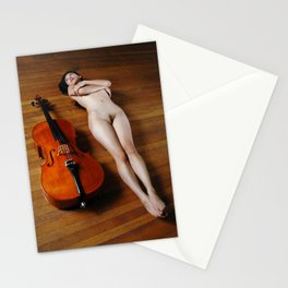 0137-JC Nude Cellist with Her Cello and Bow Naked Young Woman Musician Art Sexy Erotic Sweet Sensual Stationery Cards