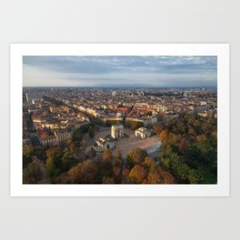 Aerial view of arch peace (Arco Della Pace) from Branca tower, Milan, Lombardy, Italy. Art Print