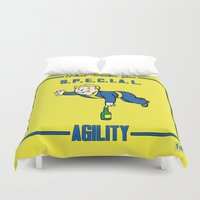 fallout Duvet Covers featuring Agility S.P.E.C.I.A.L. Fallout 4 by sgrunfo