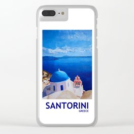 Santorini, Greece - View from Oia Retro Poster Clear iPhone Case