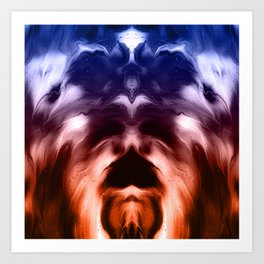abstract psychedelic paint flow ghost face c2 Art Print