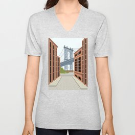 Manhattan Bridge, DUMBO, Downtown Brooklyn, NYC Unisex V-Neck