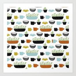 Potted Plants and Coffee Mugs Art Print