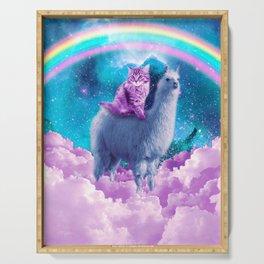 Rainbow Llama - Cat Llama Serving Tray