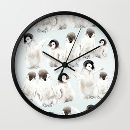Playful Penguin Chicks - Watercolor Painting Wall Clock