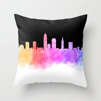 cleveland Throw Pillows featuring Cleveland Skyline by Emily Brady