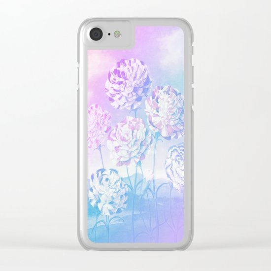 Colorful Pastel Flowers Clear iPhone Case