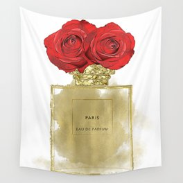 Red Roses & Fashion Perfume Bottle Wall Tapestry