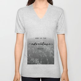 And So The Adventure Begins - Snowy Mountain Unisex V-Neck