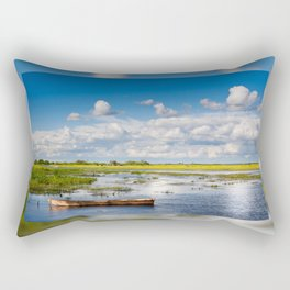 Old wooden boat in Biebrza wetland Rectangular Pillow