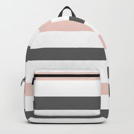 Grey and Pink Stripes Backpack
