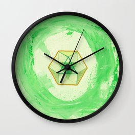 Cuboctahedron ~ Green & Gold Wall Clock