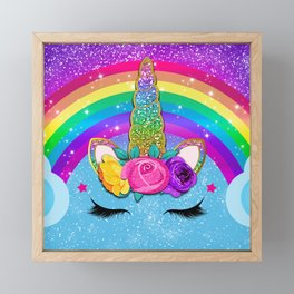 Rainbow Sparkle Unicorn Framed Mini Art Print