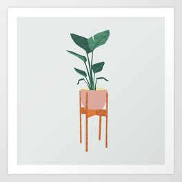 Boho mid century modern house plant and pot stand Art Print
