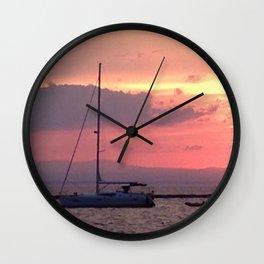 Sailing at Sunset Wall Clock