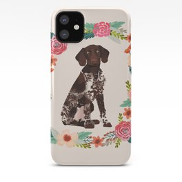 german shorthair pointer floral wreath spring dog breed pet portrait gifts iPhone Case