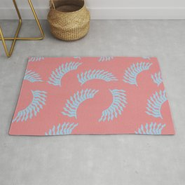 When the leaves become wings - Old pink and light blue version Rug