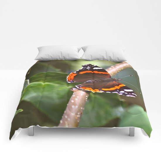 Admiral On The Apple Tree Branch Comforters