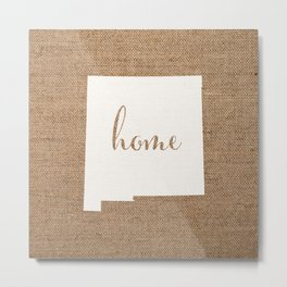 New Mexico is Home - White on Burlap Metal Print
