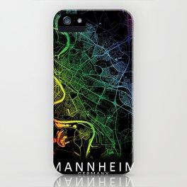 Mannheim, Germany, City, Map, Rainbow, Map, Art, Print iPhone Case