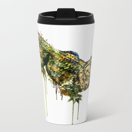 Alligator Watercolor Painting Metal Travel Mug
