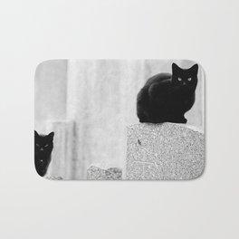 Black cats in a Cemetery Bath Mat