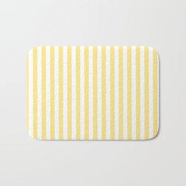 Modern geometrical baby yellow white stripes pattern Bath Mat