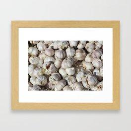 Garlic food pattern Framed Art Print