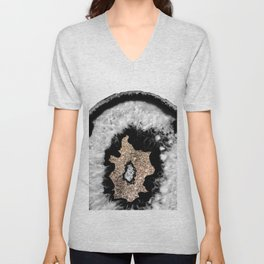 Gray Black White Agate Glitter Glamor #6 #gem #decor #art #society6 Unisex V-Neck