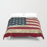 american flag Duvet Covers featuring American Flag by Abbie :)