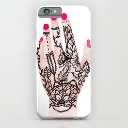 Modern watercolor hand  floral henna tattoo pink nails iPhone Case