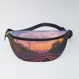 Antiquity railway at the sky of dawn Fanny Pack