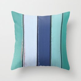 Cape Cod Shutters: Vintage Blue Wooden Boards Throw Pillow