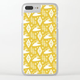 Mid Century Modern Boomerang Abstract Pattern Mustard Yellow Clear iPhone Case