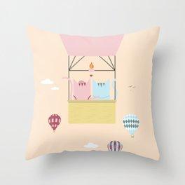 Traveling Tabbies: Hot Air Balloon Throw Pillow