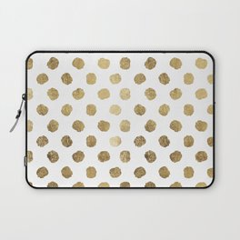 Luxurious faux gold leaf polka dots brushstrokes Laptop Sleeve