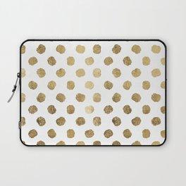 Luxurious faux gold leaf polka dots brushstrokes Laptop Sleeve